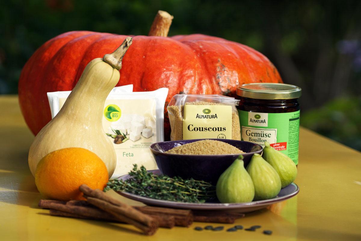 Zusammen Couscous-Kürbis-Feta Salat