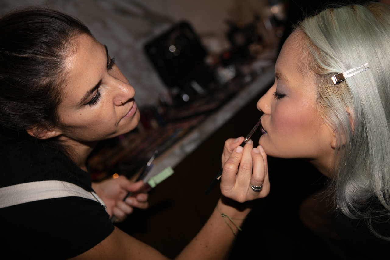 Makeup Artist at work for Fashionshow